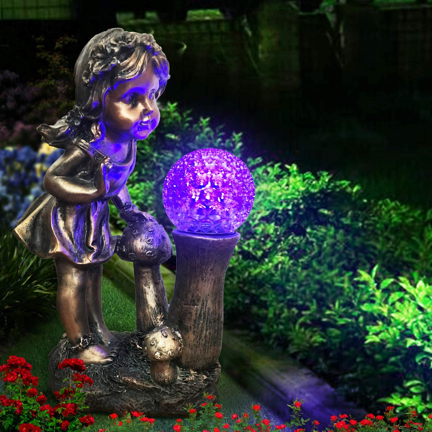 CT DISCOUNT STORE Adorable Curious Little Girl Looking at The Spinning Color Changing Gazing Ball (Ball Rotates As The Color Change) Outdoor Garden Decoration Statue