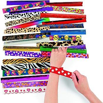 Metal Slap Bracelet Assortment | 50 Pieces | Favors, Giveaways, Rewards, Gifts, Takeaways, Kid's Birthday, Vacation Bible School, Christmas, Easter