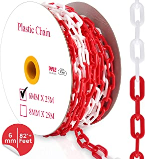 Safety Chain Barrier Plastic Links - 82' Ft Caution Security Chain Link Barriers Crowd Control, Door Driveway Garage Kids Safety Blocker, - Pyle PCHN31 (6mm)