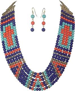 Gypsy Jewels Hidden Cross 6 Row Layered Beaded Necklace & Earrings Set