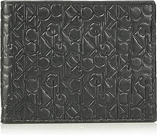 Calvin Klein Men's Logo Embossed Leather Bifold Wallet, black, One Size