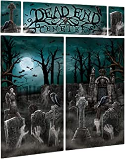 Large Halloween Party Scene Setter Spooky Creepy Scary Cemetery Party Backdrop Selfie Station Decoration
