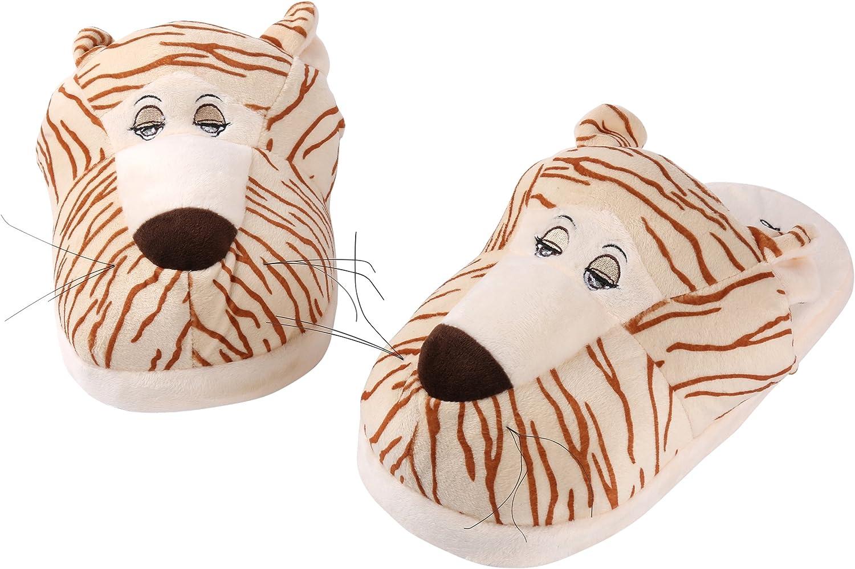Aerusi Women's Tiger Animal Plush Slipper