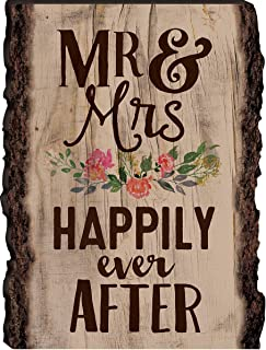P. Graham Dunn Mr & Mrs Happily Ever After 9 x 12 Wood Bark Edge Design Wall Art Sign