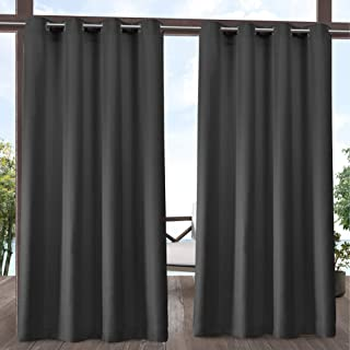 Exclusive Home Curtains Delano Heavyweight Textured Indoor/Outdoor Grommet Top Curtain Panel Pair, 54x108, Charcoal