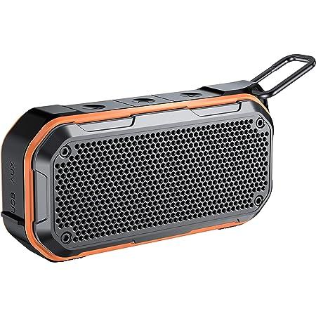 Bluetooth ワイヤレススピーカー完全コンパクトタイプ ポータブルスピーカー IPX7防水規格 TWS対応低音増強 24時間連続再生 カラビナ バスルーム パーティー 内蔵マイク AUXオープンポート USB充電 TFカード 12ヶ月保証(オレンジ)