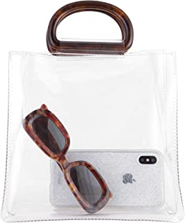 Sonix Transparent Tort Mini Tote Bag [Heavyweight Clear PVC with Premium Tortoiseshell Half Moon Top Handles]