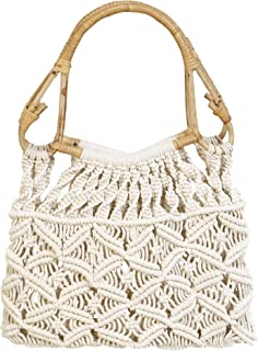 Women's Cotton Knitted Handbag With Macrame Stylish Cane Handle (Natural White)