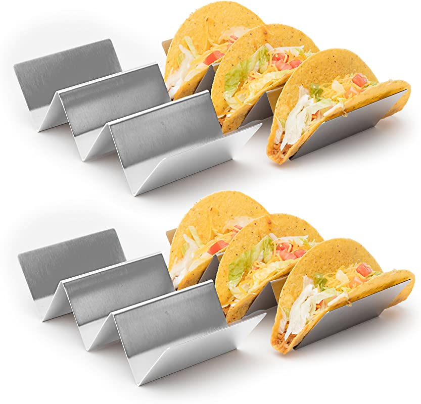 4 Pack Stylish Stainless Steel Taco Holder Stand Taco Truck Tray Style Rack Holds Up To 3 Tacos Each Oven Safe For Baking Dishwasher And Grill Safe 4 X 8 By California Home Goods