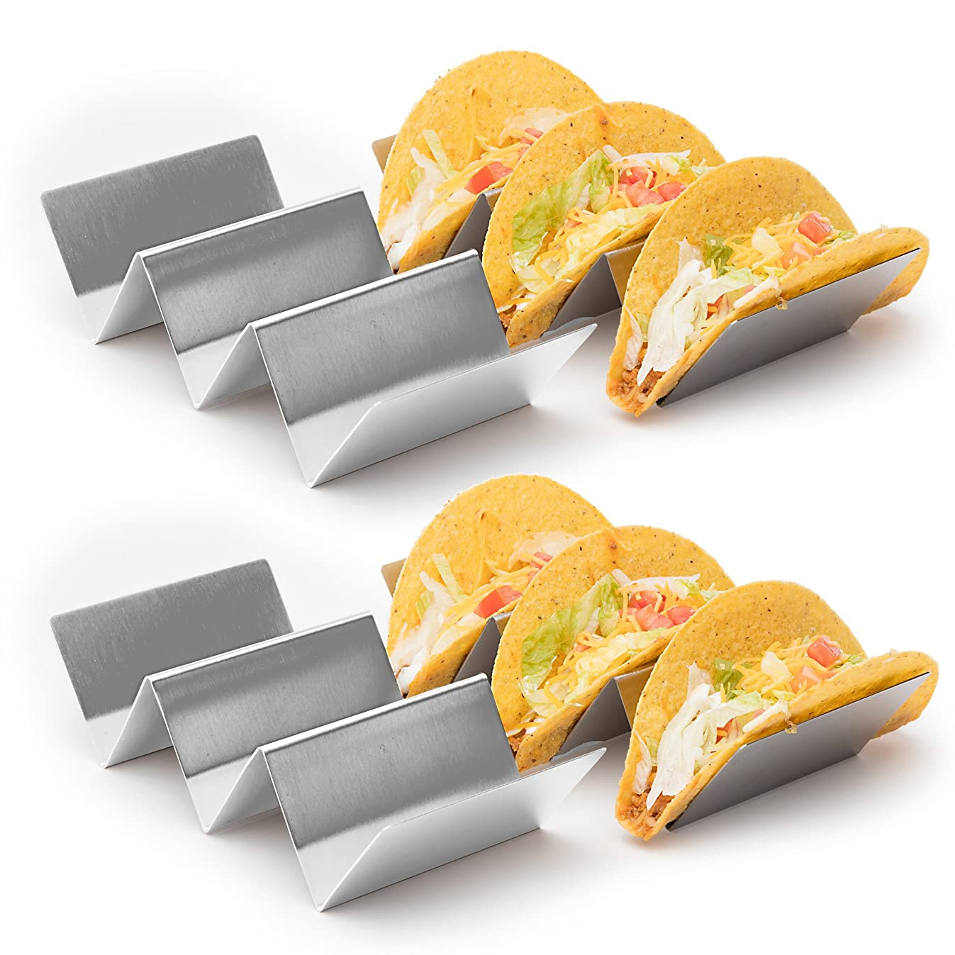"""4 Pack - Stylish Stainless Steel Taco Holder Stand, Taco Truck Tray Style, Rack Holds Up to 3 Tacos Each, Oven Safe for Baking, Dishwasher and Grill Safe, 4"""" x 8"""", by California Home Goods"""