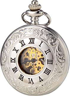 SEWOR Business Double Open Skeleton Pocket Watch Mechanical Hand Wind Movement Full Hunter Gift (Sliver)
