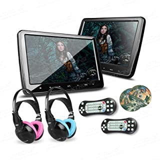 XTRONS 2X 10.1 Inch Twins HD Digital Screen Car Headrest DVD Player Ultra-Thin Detachable Touch Button HDMI Port with One ...