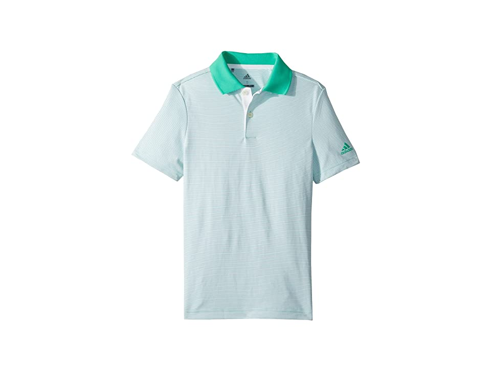 Image of adidas Golf Kids Microstripe Polo (Big Kids) (Hi-Res Green) Boy's Clothing
