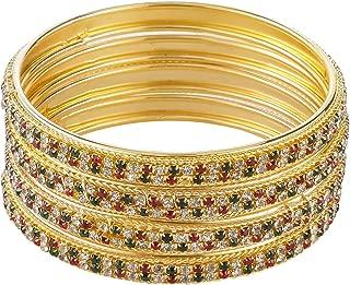 Indian Style Bollywood Traditional Gold Plated Muticolor Stone Wedding Bracelet Bangle Set Jewelry (4 pc)