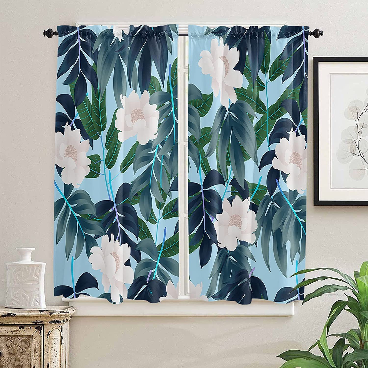 Forest Quantity limited OFFer Stylish Kitchen Curtains 63 for Length Trop Windows Inch