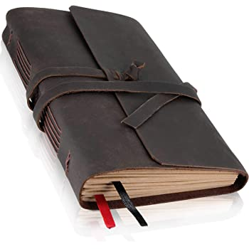 Leather Journal with Lined Pages - Leather Bound Writing Journal for Men & Women (6x8 in), Lined Journal Notebooks for Women & Men, Leather Notebook Travel Journal & Diary Gifts, Journals for Writing