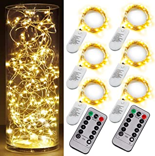 6 PCS Fairy String Warm White Changing Twinkle Lights with 2 PCS Remote, 6.5ft 20 LED's,CR2032 Battery Powered, Indoor Decorative Silver Wire Bedroom,Patio,Outdoor Garden,Stroller