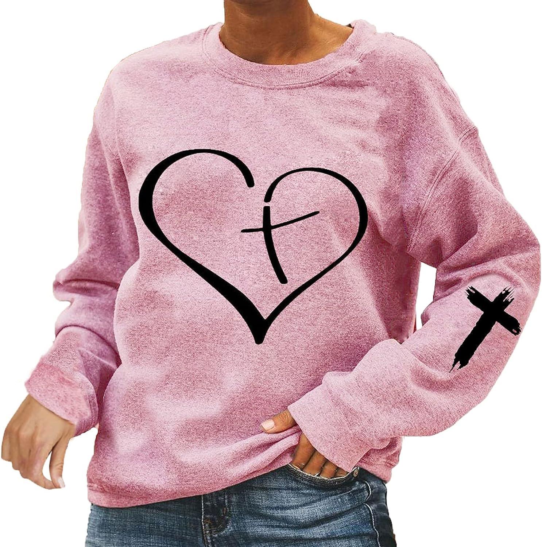 Womens Crewneck Sweatshirt Loose Trendy Long Sleeve Pullover Top Trendy Heart Graphic Pullover Top Oversized