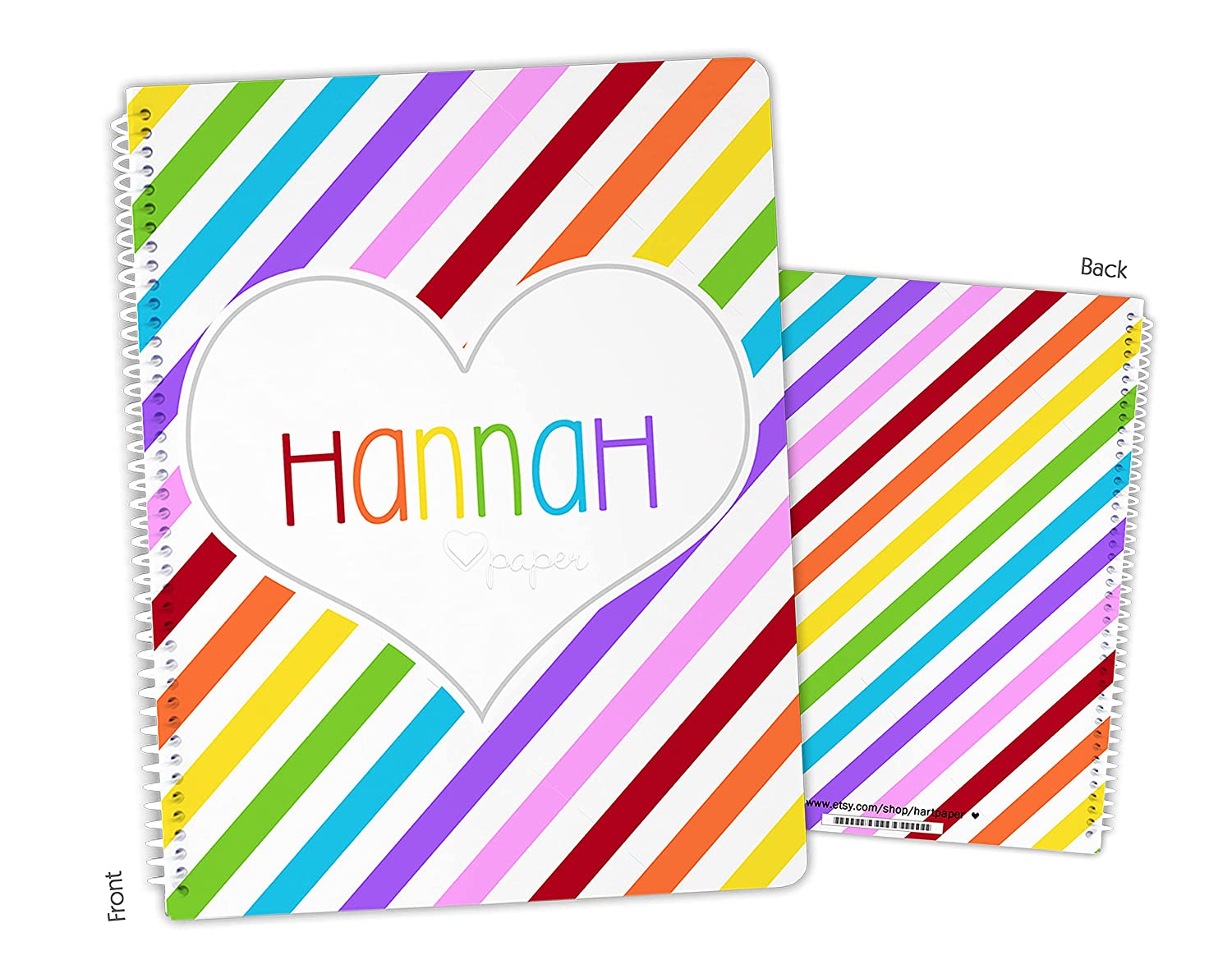 Sale Special Price Personalized Rainbow Stripes Spiral Bound Notebook Sketchbook Baltimore Mall