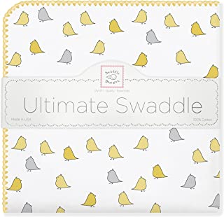 SwaddleDesigns Ultimate Swaddle, X-Large Receiving Blanket, Made in USA Premium Cotton Flannel, Yellow Jewel Tone Little Chickies (Mom's Choice Award Winner)