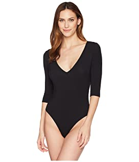 Modal Bodysuit with V-Neck and 3/4 Sleeve