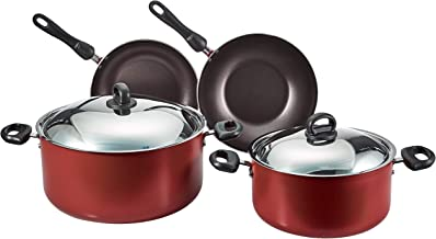Prestige Aluminum Non-stick Cookware Set of 8-Piece, Red PR20984