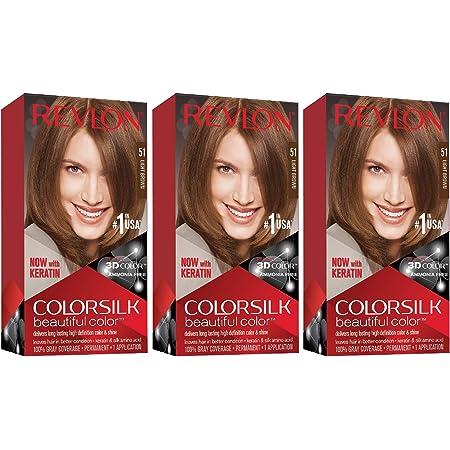 Revlon ColorSilk Tinte de Cabello Permanente Tono #51 Castaño Claro, pack de 3