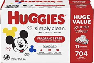 HUGGIES Simply Clean Baby Wipes, 11 Pack, 704 Sheets Total