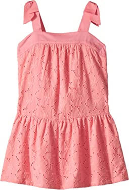 Janie and Jack Bow Sleeve Eyelet Dress (Toddler/Little Kids/Big Kids)