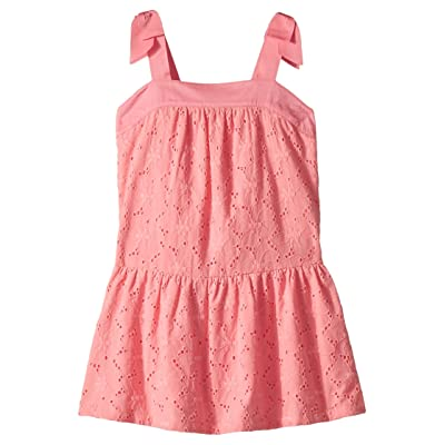 Janie and Jack Bow Sleeve Eyelet Dress (Toddler/Little Kids/Big Kids) (Pink) Girl