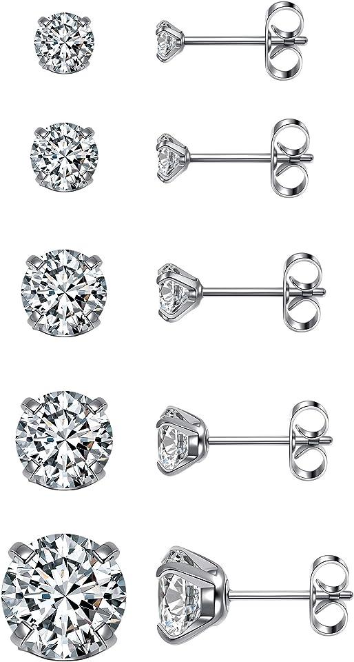 Top Plaza Stainless Steel Stud Earrings Round Cubic Zirconia Hypoallergenic CZ Earring Set for Women Men 3mm-8mm