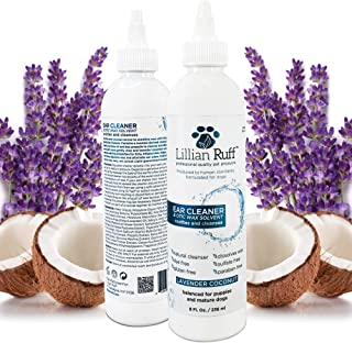 Lillian Ruff Ear Cleaner for Dogs and Otic Wax Solvent with Aloe - Coconut and Lavender Scent - Dissolve Wax and Eliminate...