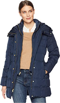 Down Coat with Bib Front and Dramatic Hood