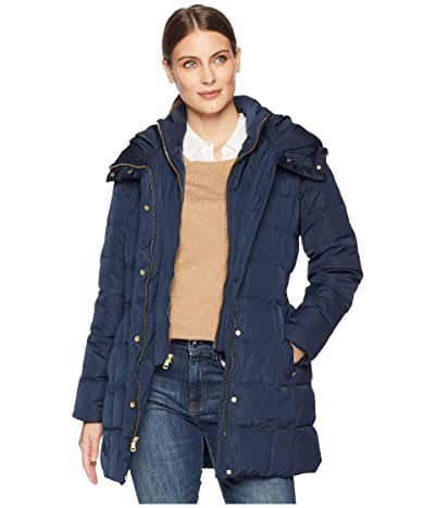 Cole Haan Down Coat with Bib Front and Dramatic Hood (Navy) Women