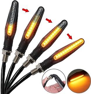 PROZOR Blinker Licht 4 Stück 12LED Fließende Wasserdichte Blinker Lampe Mini Bernstein Indikatoren für Motorrad Motorfahrrad