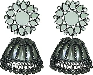 Total Fashion Traditional German Silver Oxidised Antique Stylish Designer Afghni Big Mirror Jhumka Earrings for women and ...