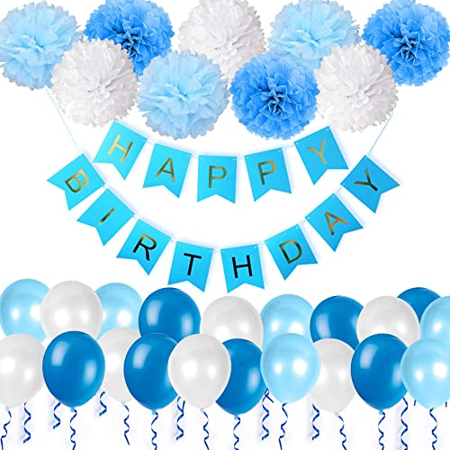 Happy Birthday Decorations Bunting Banner With Pearl Balloons Pom Poms Tissue Flowers Garland For Boys In