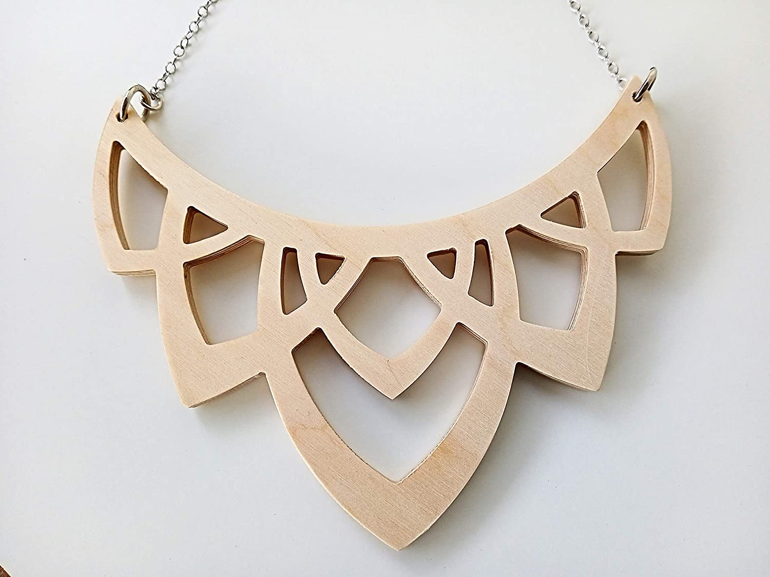 Free shipping Statement bib necklace from plywood Romantic Las Vegas Mall vintage chai style