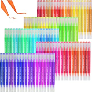 100 Colors Dual Tip Brush Pens with Fineliners Art Markers, LUOWAN Watercolor Dual Brush Tip and Highlighters For Kid Adul...