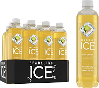 Sparkling Ice, Ginger Lime Sparkling Water, with antioxidants and vitamins, Zero Sugar, 17 FL OZ Bottles (Pack of 12)