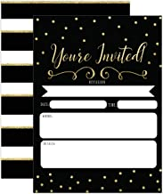 Black and Gold Invitations, Surprise Party Elegant invites for Birthday, Wedding, Bridal Shower, Engagement, Bachelorette Party, Baby Shower, Reception, Anniversary, Housewarming
