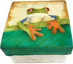 Kubla Craft Tree Frog Capiz Shell Keepsake Box, 3 Inches Square