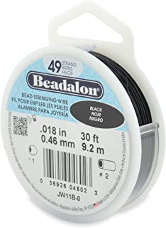 "Beadalon 49-Strand 0.018"" (0.46 mm) 30 ft (9.1 m) Black Bead Stringing Wire"