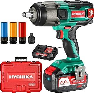 Cordless Impact Wrench, HYCHIKA 18/20V Impact Gun, 350Nm Electric Wrench Driver, 4.0Ah Battery, 1/2 Inch Chuck, 3000IPM Im...