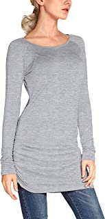 Urban CoCo Women's Casual T-Shirt Long Sleeve Solid Tunic Tops Slim Fit