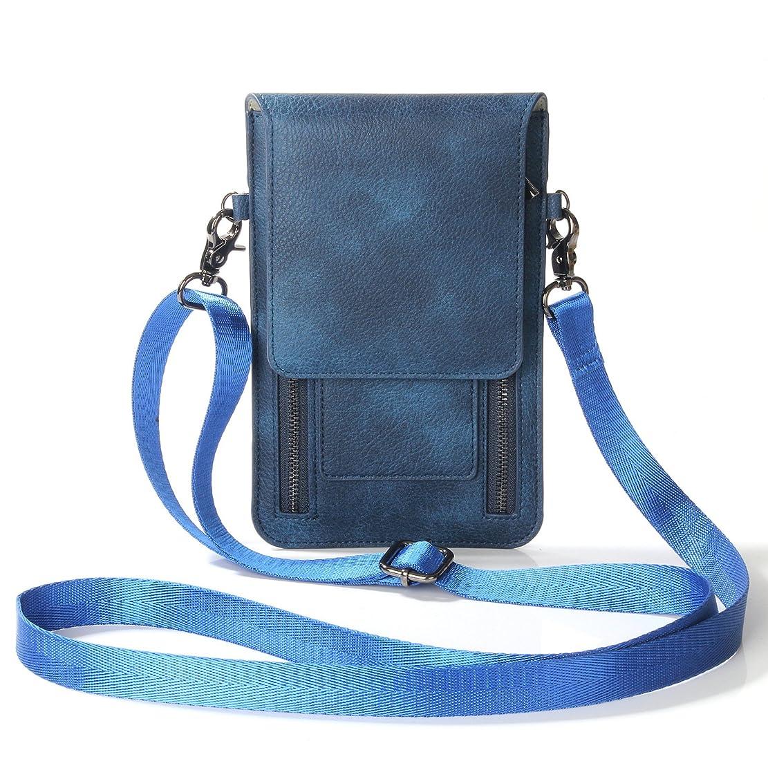 蓄積する依存うんミニ斜め掛けバッグ スマホポーチ elecfanJ ショルダー バッグ レディース 本革調 小物入れ おしゃれ 財布型 スマホカバー カード収納 ストラップ付き 最大6.5インチポシエット(ブルー)