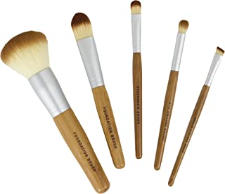 Bamboo Naturals Makeup Brushes, Natural Bamboo Handles, Includes Five Brushes: Powder Foundation Brush, Liquid Foundation Brush, Eyeshadow Brush, Smudge Brush, Angled Eyeliner Brush