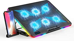 LIANGSTAR Laptop Cooling Pad, Laptop Cooler with 6 Quiet Fans for 15.6-17 Inch Gaming Fan Stable Stand, 7 Height Adjust, RGB Light 10 Modes, Switch Control Fan Speed, 2 USB Port & Phone Holder, 2021