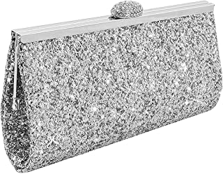 9074bc1fee5 UNYU Fashion Womens Glitter Clutch Bag Sparkly Silver Gold Black Evening  Bridal Prom Party Handbag Purse