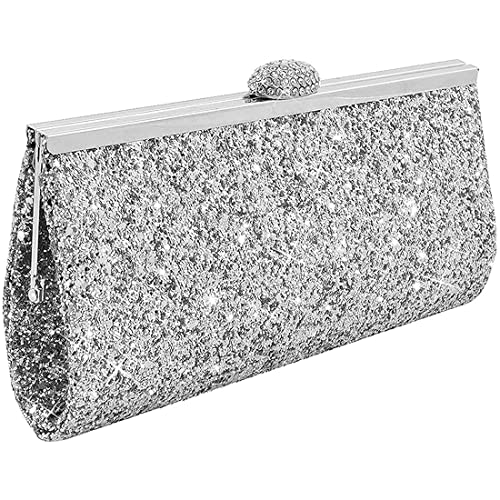 25c9a961643 UNYU Fashion Womens Glitter Clutch Bag Sparkly Silver Gold Black Evening  Bridal Prom Party Handbag Purse